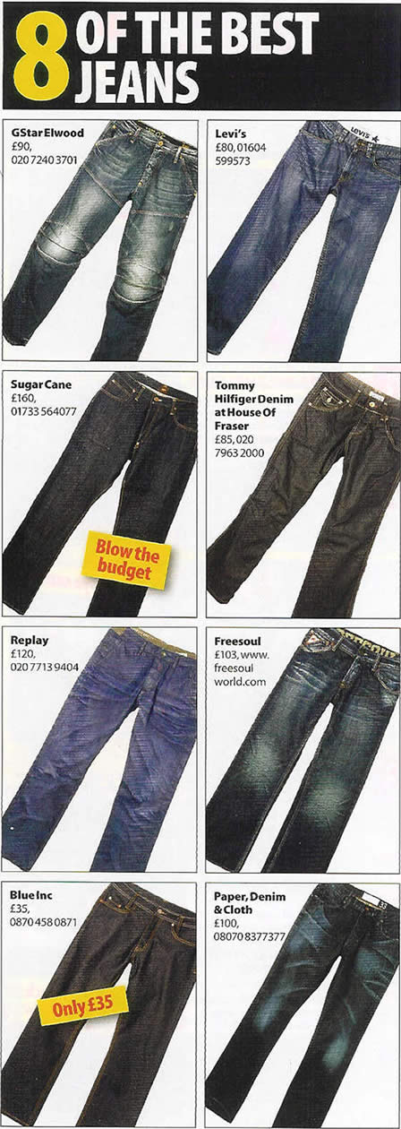 Designer Jeans, Sugar Cane jeans to G-Star Jeans
