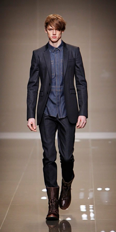 Burberry Prorsum A/W 2010 Indigo Wash Denim Military Shirt