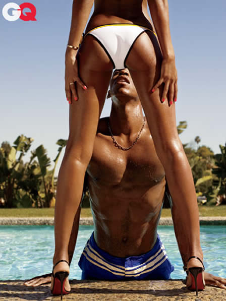 Mechad Brooks modeling swimsuits for GQ
