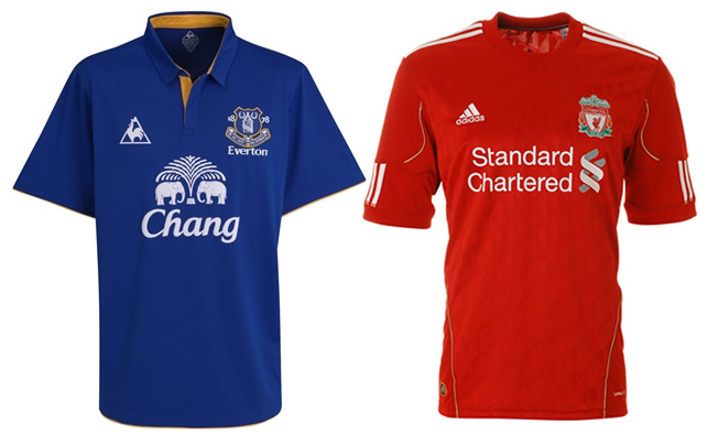Everton versus Liverpool 2012 Home Kits
